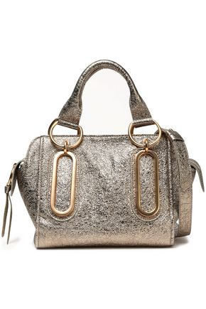 SEE BY CHLOÉ Paige metallic cracked-leather shoulder bag