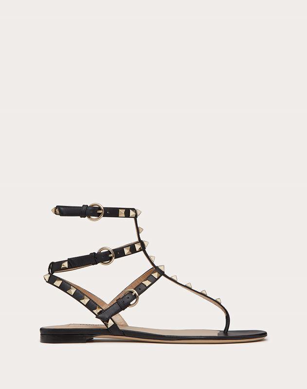 Rockstud Calfskin Flat Flip-Flop Sandal