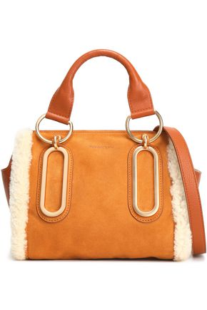 SEE BY CHLOÉ Paige shearling-trimmed suede and pebbled-leather shoulder bag