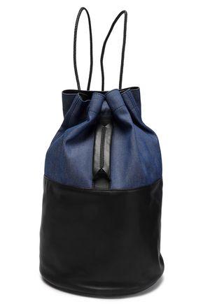 RAG & BONE Denim-paneled leather backpack