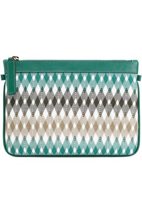 MISSONI Leather-trimmed crochet-knit clutch