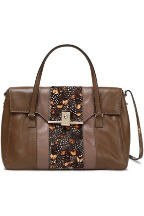 VALENTINO Printed calf hair-paneled leather shoulder bag
