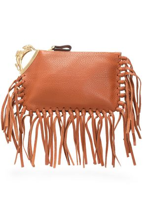 VALENTINO Capricorn fringe-trimmed embellished textured-leather clutch