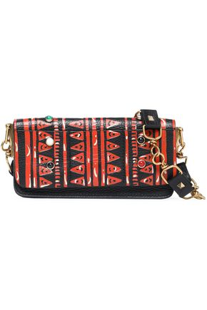 VALENTINO Embellished printed leather shoulder bag