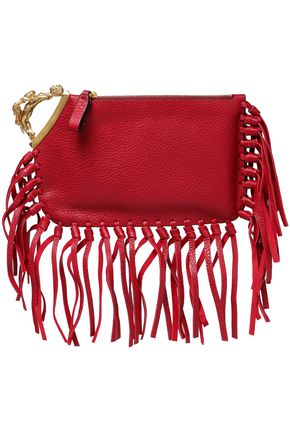 VALENTINO Fringe-trimmed textured leather clutch