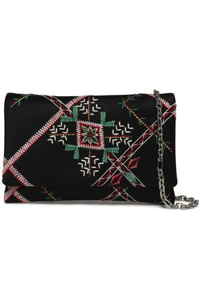OSCAR DE LA RENTA Embroidered satin clutch