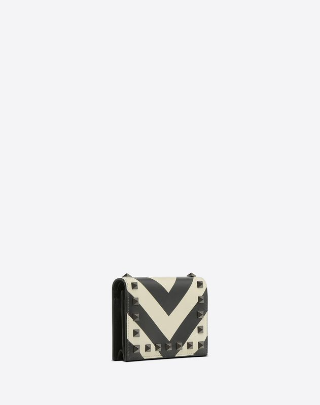 Striped Rockstud Pocket Wallet