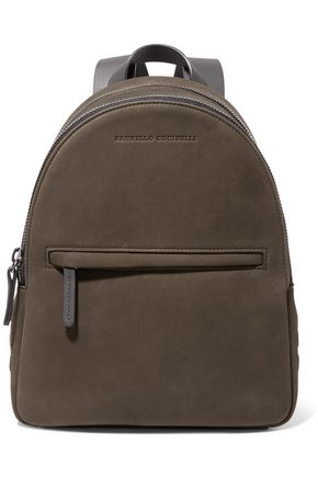 BRUNELLO CUCINELLI Leather-trimmed bead-embellished suede backpack