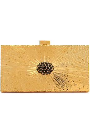 VALENTINO Embellished metallic box clutch