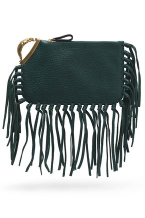 VALENTINO Fringe-trimmed crocodile clutch