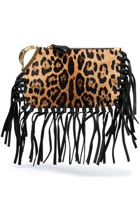 VALENTINO GARAVANI Fringe-trimmed leopard-print calf hair clutch