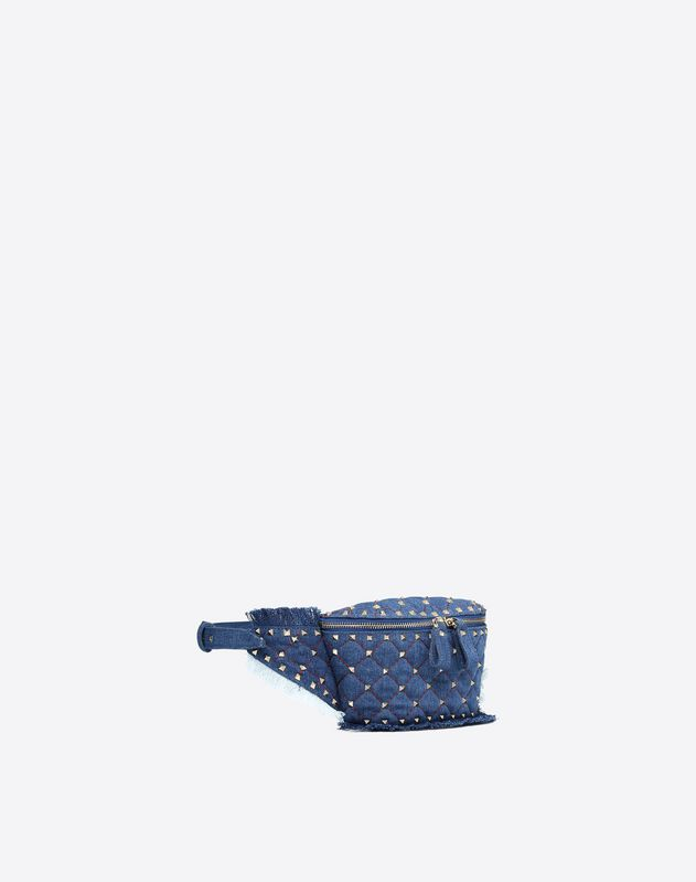 Denim Rockstud Spike Belt Bag