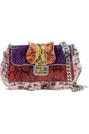 FENDI Baguette micro ruffle-trimmed color-block elaphe shoulder bag