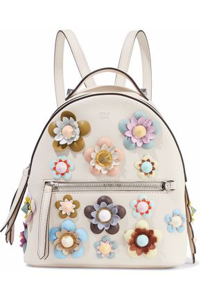 FENDI Zaino Mini floral-appliquéd leather backpack