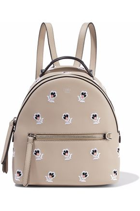 FENDI Zaino Mini embroidered leather backpack