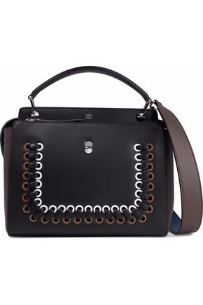 FENDI Dotcom whipstitched two-tone leather shoulder bag