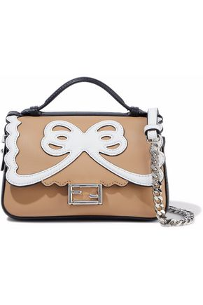 FENDI Double Baguette micro two-tone leather shoulder bag