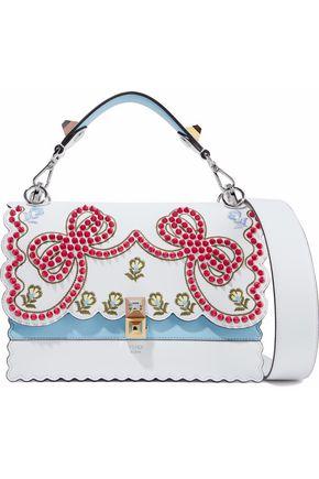 FENDI Kan I embellished scalloped leather shoulder bag