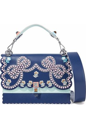 FENDI Kan I scalloped embellished leather shoulder bag