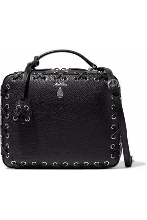 MARK CROSS Laura whipstitched pebbled-leather shoulder bag