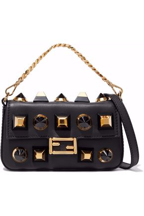 FENDI Baguette mini studded leather shoulder bag