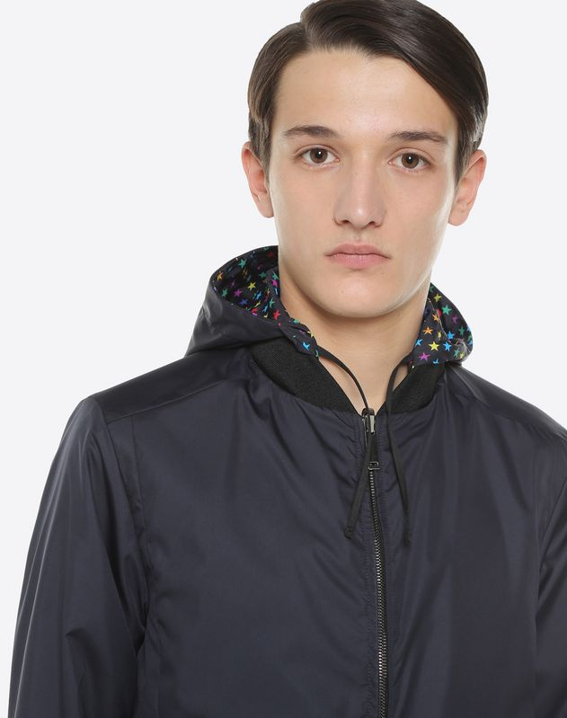 Star-print reversible waterproof jacket