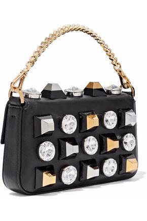FENDI Baguette crystal-embellished studded leather clutch