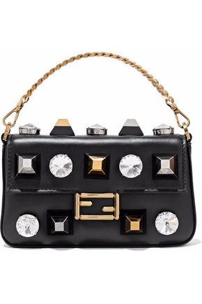 FENDI Baguette crystal-embellished studded leather clutch