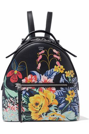 FENDI Floral-print leather backpack