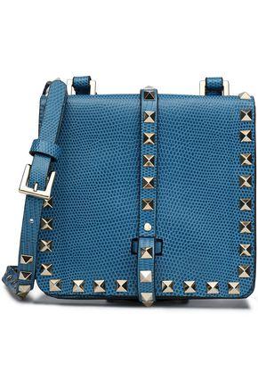 VALENTINO Rockstud lizard-effect leather shoulder bag
