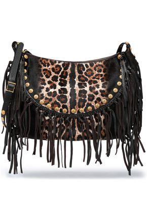 VALENTINO Leather fringe-trimmed leopard-print calf hair shoulder bag