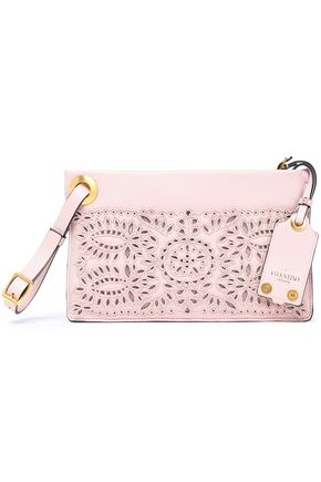 VALENTINO GARAVANI Bead-embellished laser-cut leather pouch