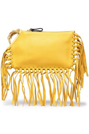 VALENTINO GARAVANI Gryphon fringe-trimmed embellished pebbled-leather clutch