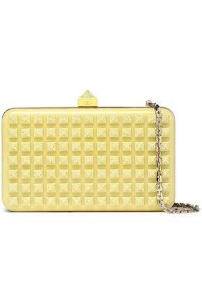 VALENTINO Crystal-embellished studded acrylic clutch