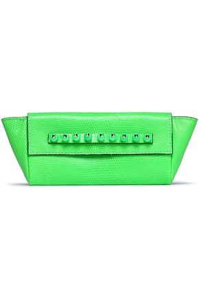 VALENTINO GARAVANI Rockstud neon textured leather clutch