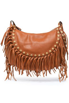 VALENTINO Fringe-trimmed leather shoulder bag