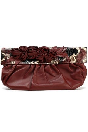 VALENTINO Floral-appliquéd python-paneled leather clutch