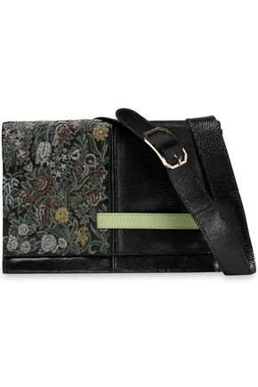 VALENTINO Snake-effect leather and brocade shoulder bag