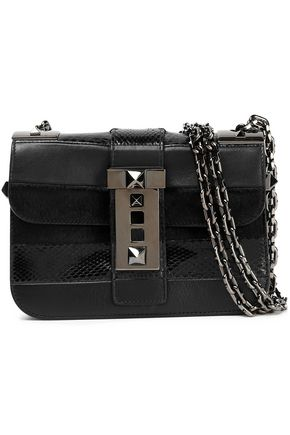 VALENTINO Rockstud leather, python and calf hair shoulder bag