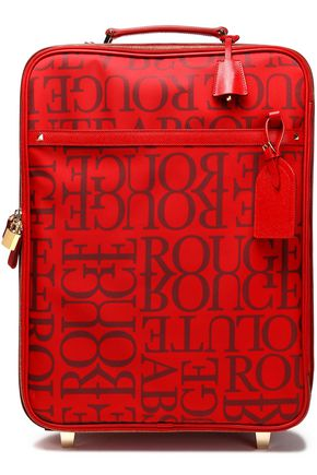 VALENTINO Leather-trimmed printed twill suitcase