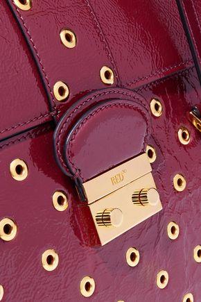 RED(V) Eyelet-embellished textured patent-leather shoulder bag