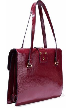 REDValentino Eyelet-embellished textured patent-leather shoulder bag