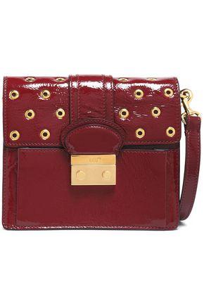 RED(V) Eyelet-embellished patent-leather shoulder bag
