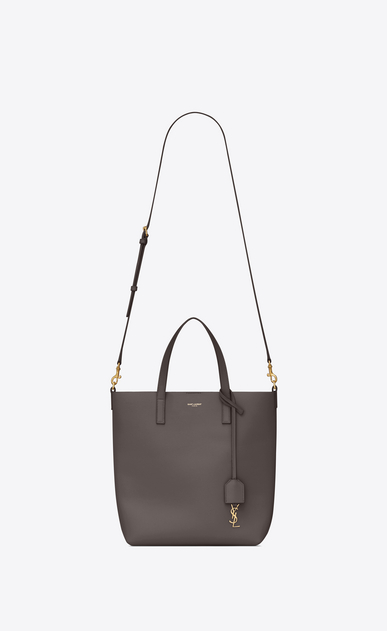 SAINT LAURENT Shopping Saint Laurent N/S Woman shopping toy bag in earth grey leather b_V4