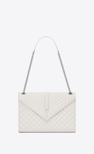 SAINT LAURENT Monogram envelope Bag Woman large envelope bag in dove white mixed textured leather a_V4