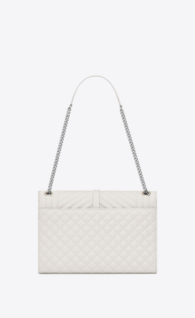 SAINT LAURENT Monogram envelope Bag Woman large envelope bag in dove white mixed textured leather b_V4