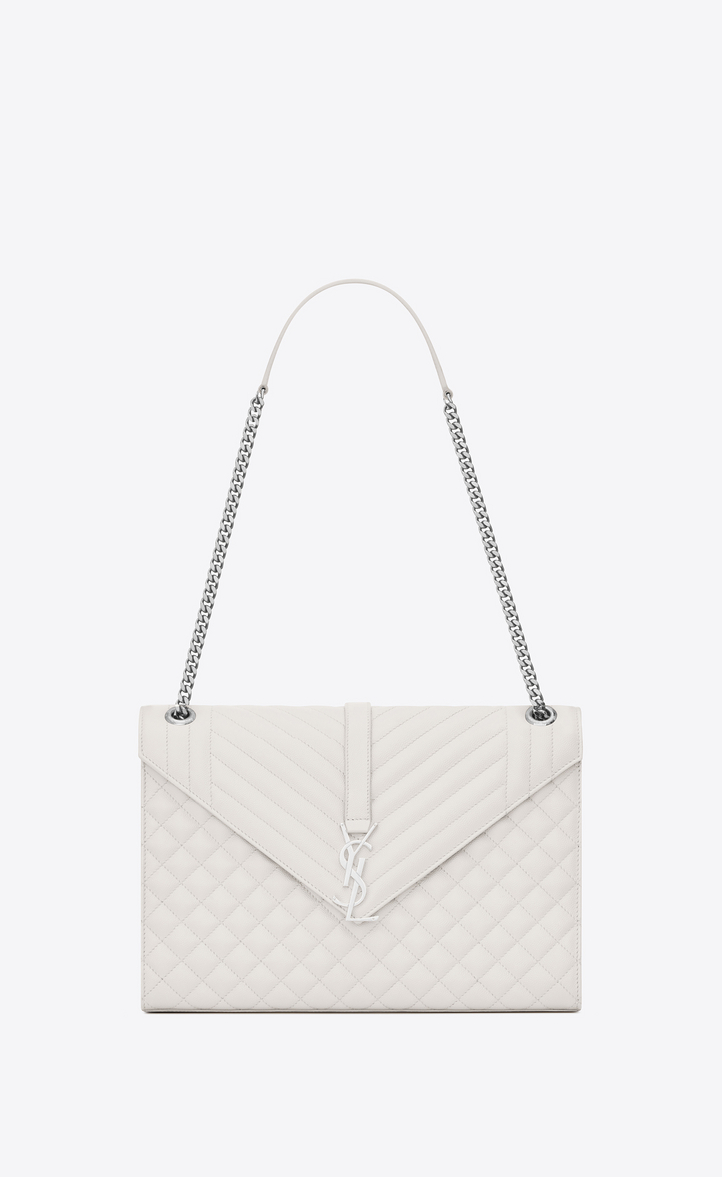 Saint Laurent Large Envelope Bag In Dove White Mixed Textured ... 45f27b6174453