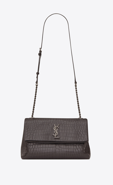SAINT LAURENT West Hollywood Woman medium west hollywood bag in dark anthracite crocodile embossed leather a_V4