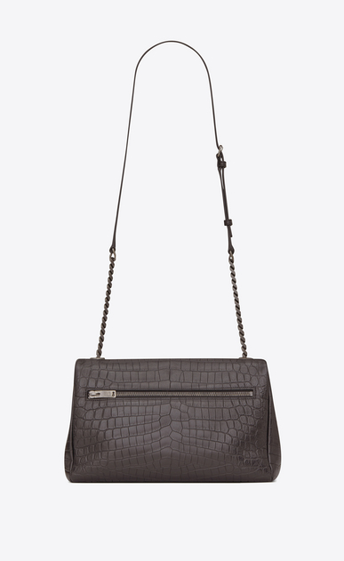 SAINT LAURENT West Hollywood Woman medium west hollywood bag in dark anthracite crocodile embossed leather b_V4