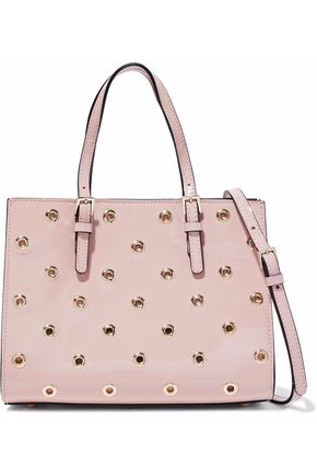WOMAN EYELET-EMBELLISHED PATENT-LEATHER TOTE PASTEL PINK